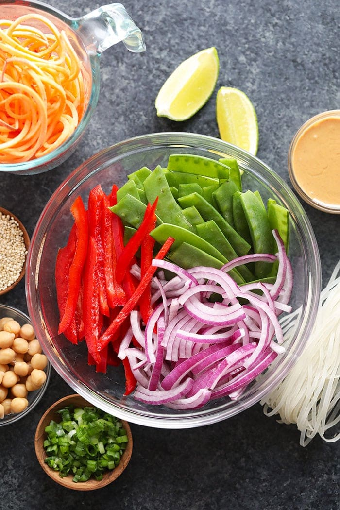 vegan pad thai vegetable ingredients in a bowl