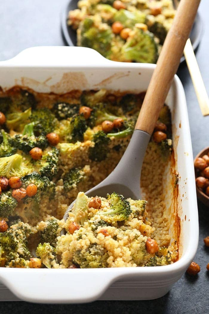 healthy vegan broccoli and cheese casserole in a baking dish
