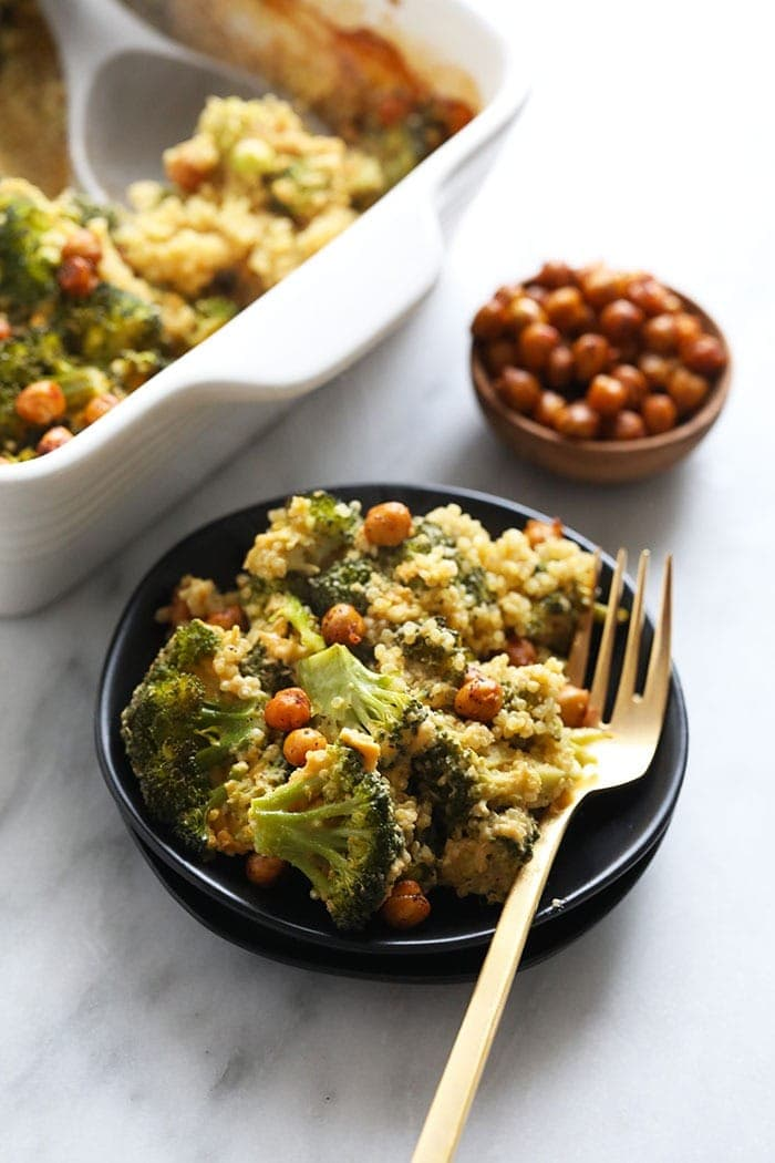vegan broccoli and cheese casserole on a plate