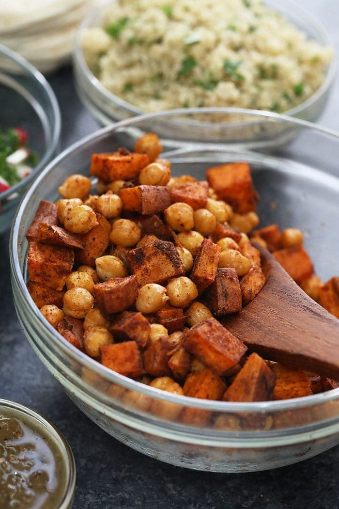 a bowl of sweet potatoes and garbanzo beans