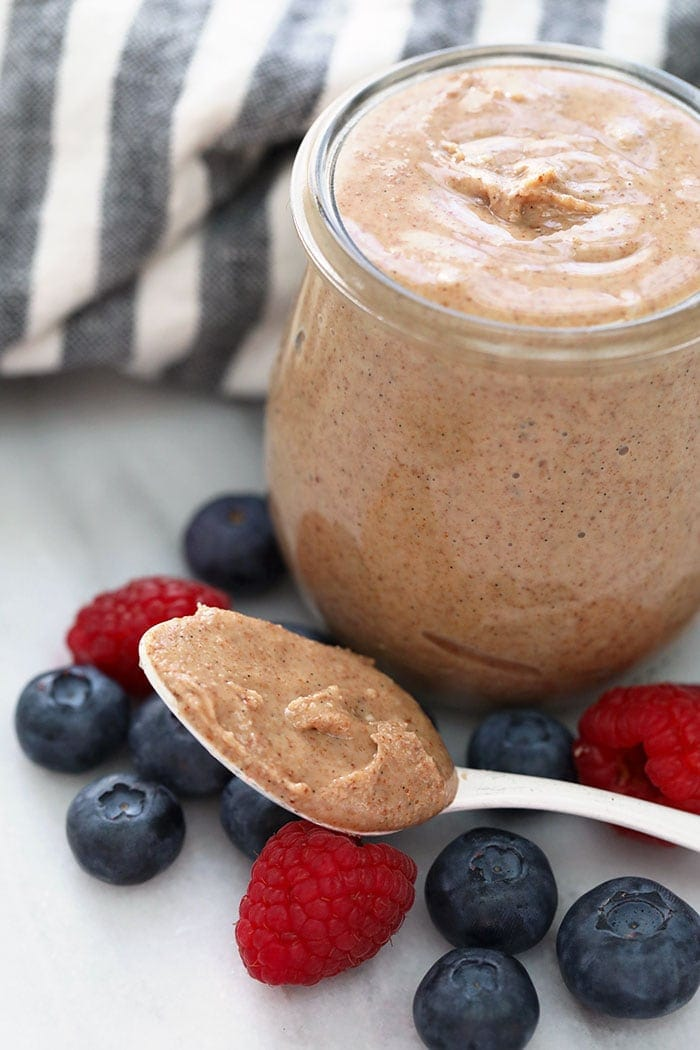 vanilla bean almond butter in a jar