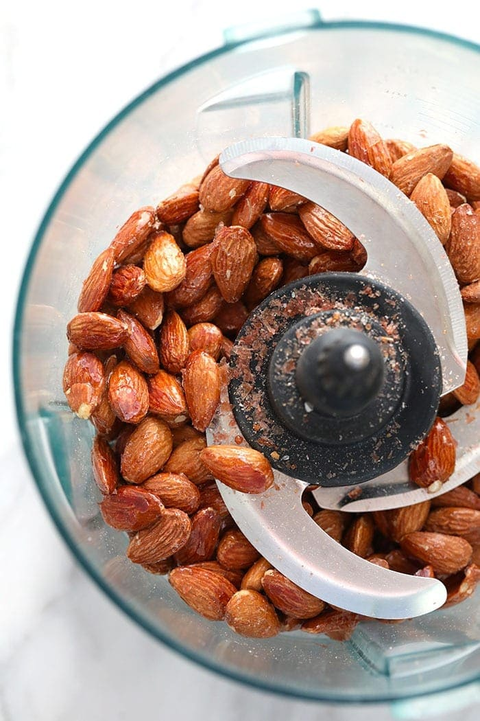 roasted almonds in a food processor