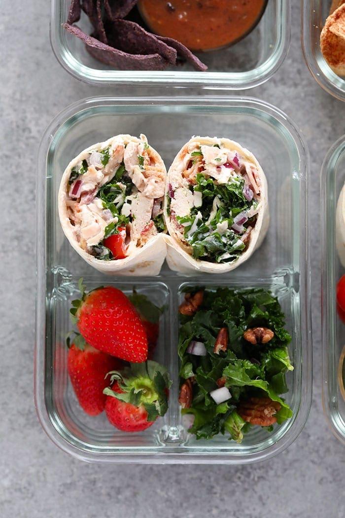 Healthy chicken salad wrap bento box