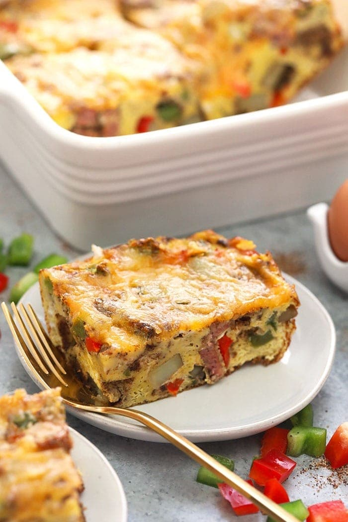chicken fajita breakfast casserole on a plate