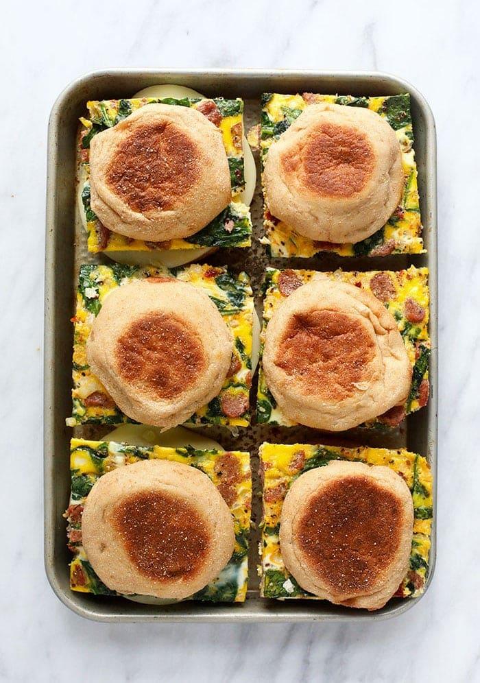Breakfast Sandwiches on a sheet pan