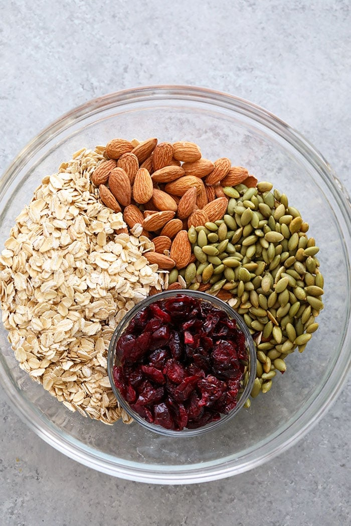 Ingredients for the healthy granola in a bowl