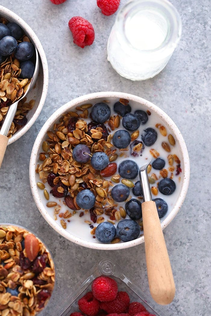 Healthy granola in a bowl with blueberries and milk