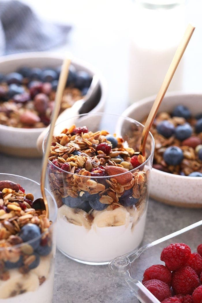A yogurt parfait with granola and fruit