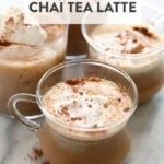 chai tea latte in a glass