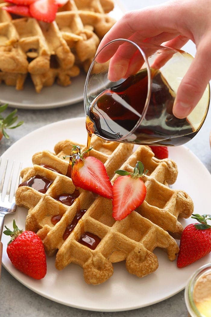 healthy protein waffles on a plate