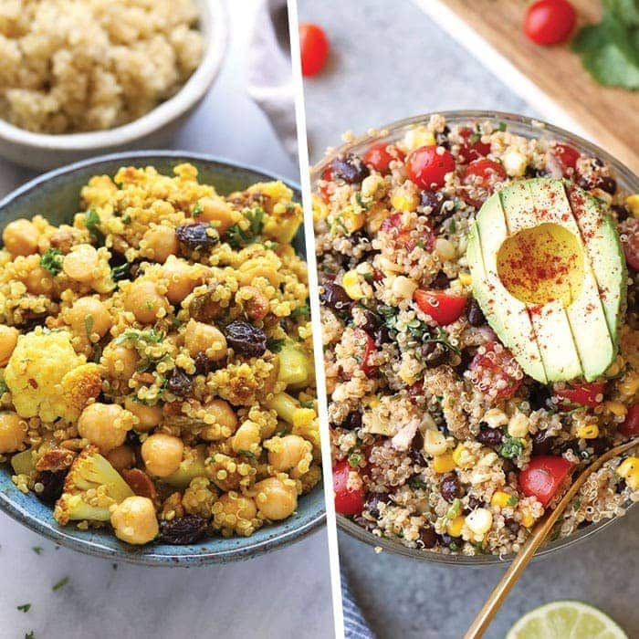A photo collage of quinoa salad images