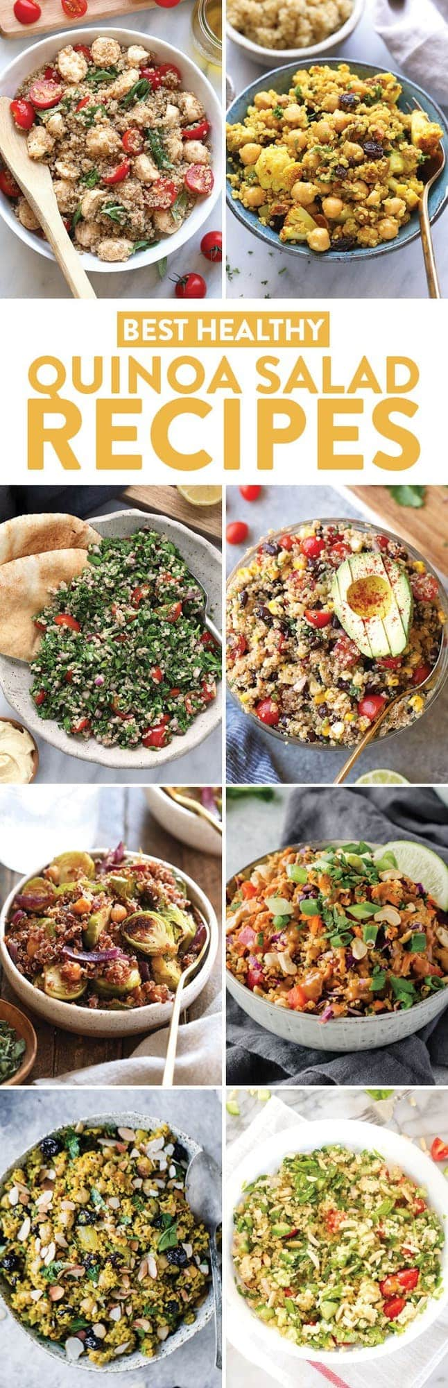 A photo collage of quinoa salad recipes