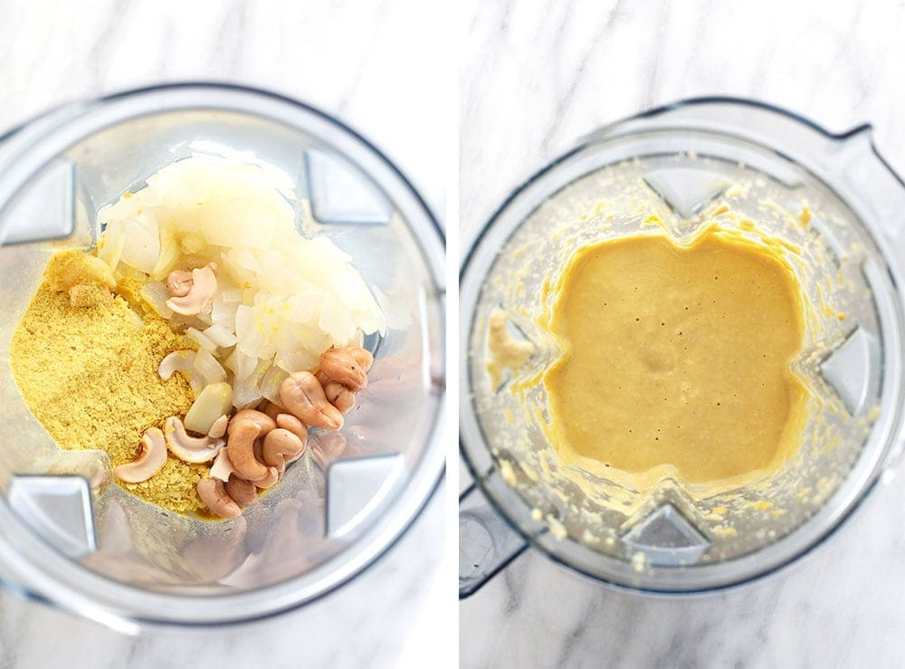 vegan cheese sauce in the food processor
