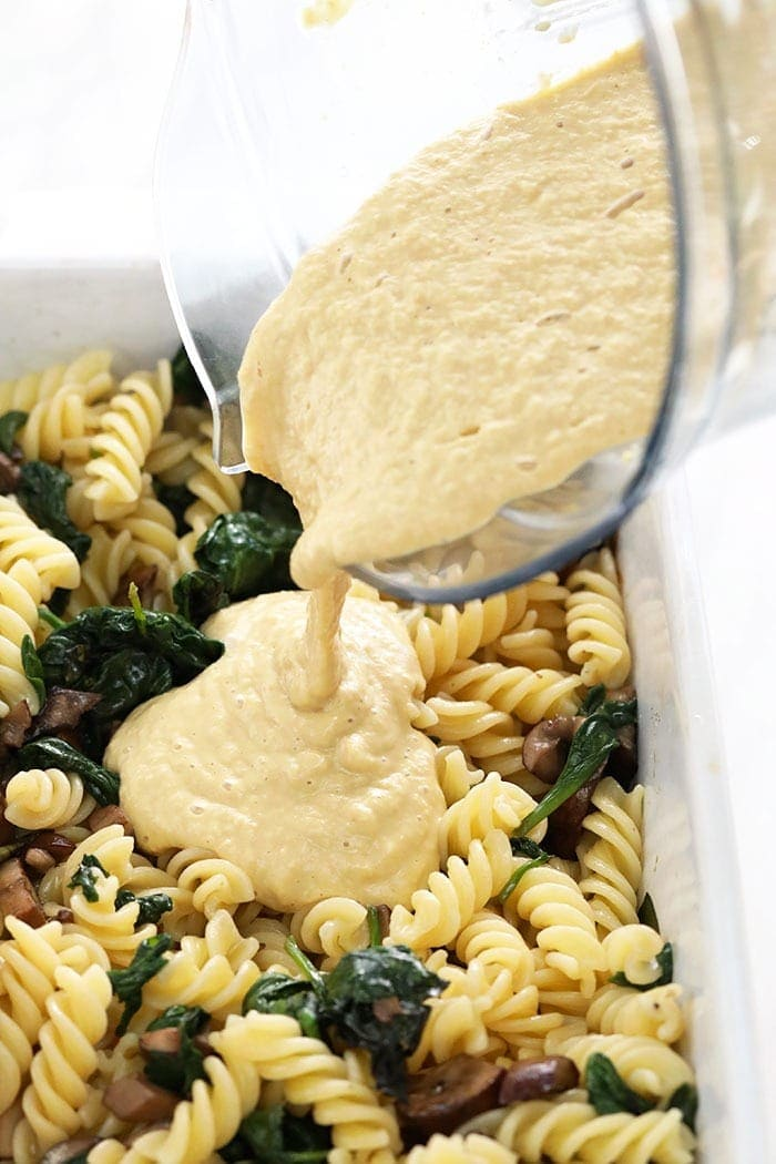 vegan pasta with white wine cheese sauce in a casserole dish