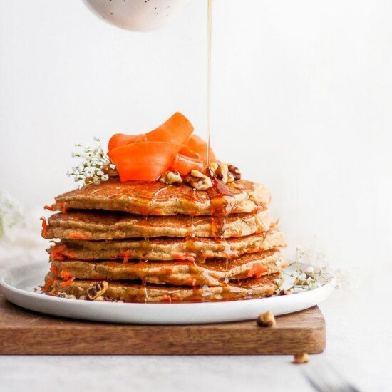 healthy carrot cake pancakes on a plate