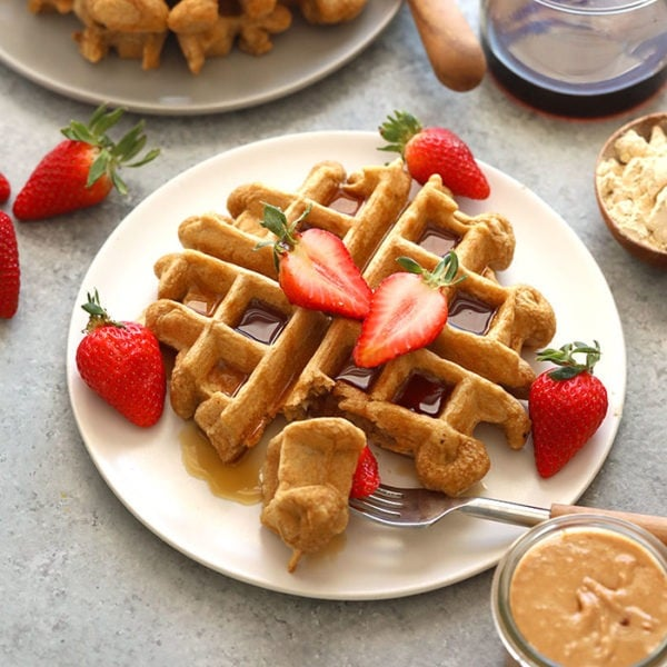 protein waffles on a plate