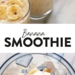 A photo collage of a banana smoothie