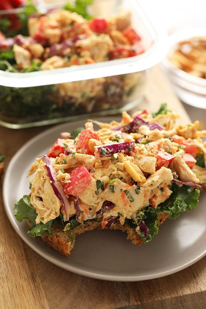 thai peanut chicken salad open-faced sandwich