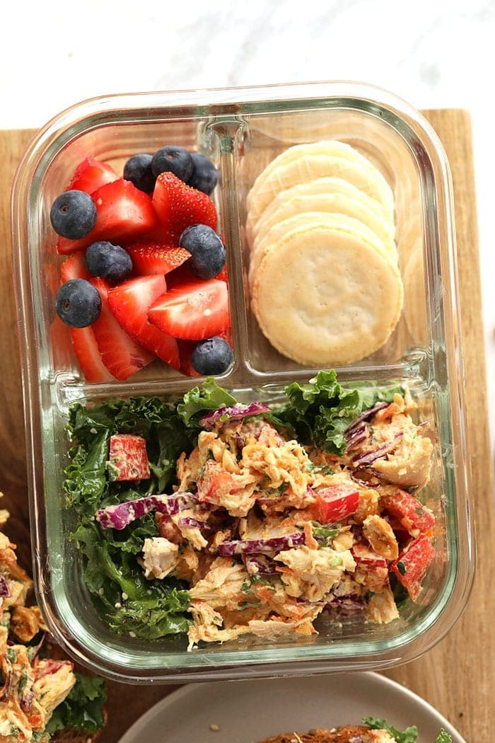 thai peanut chicken salad in a meal prep container