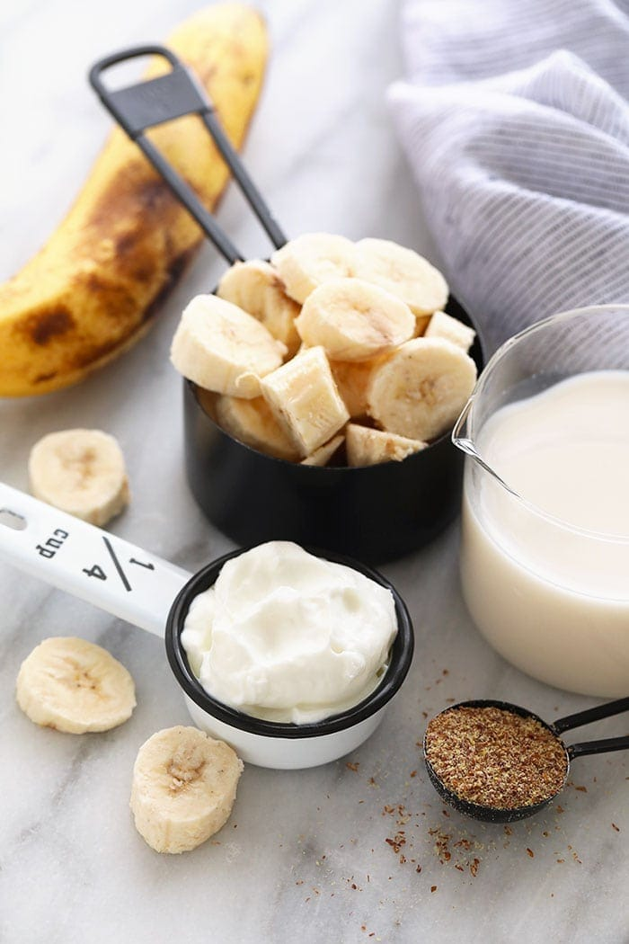 All the ingredients for a banana smoothie