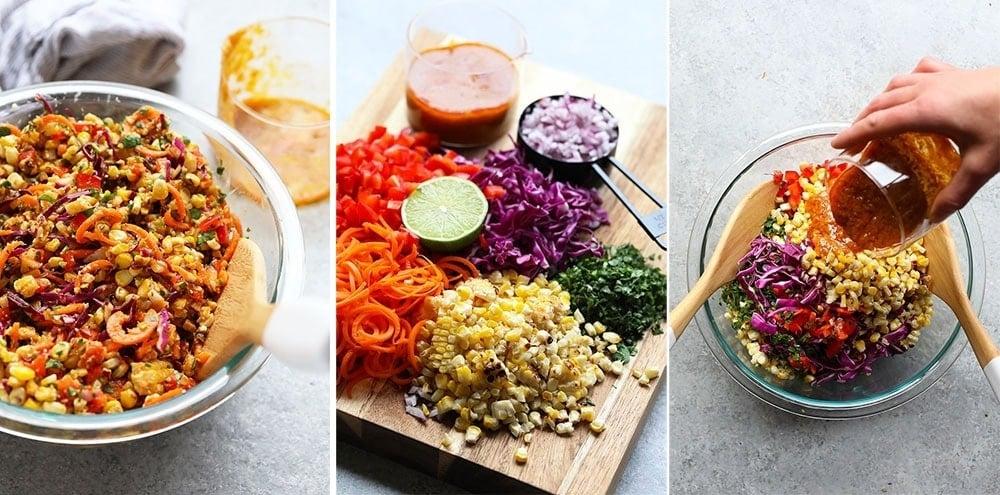 A step by step thai chili corn salad