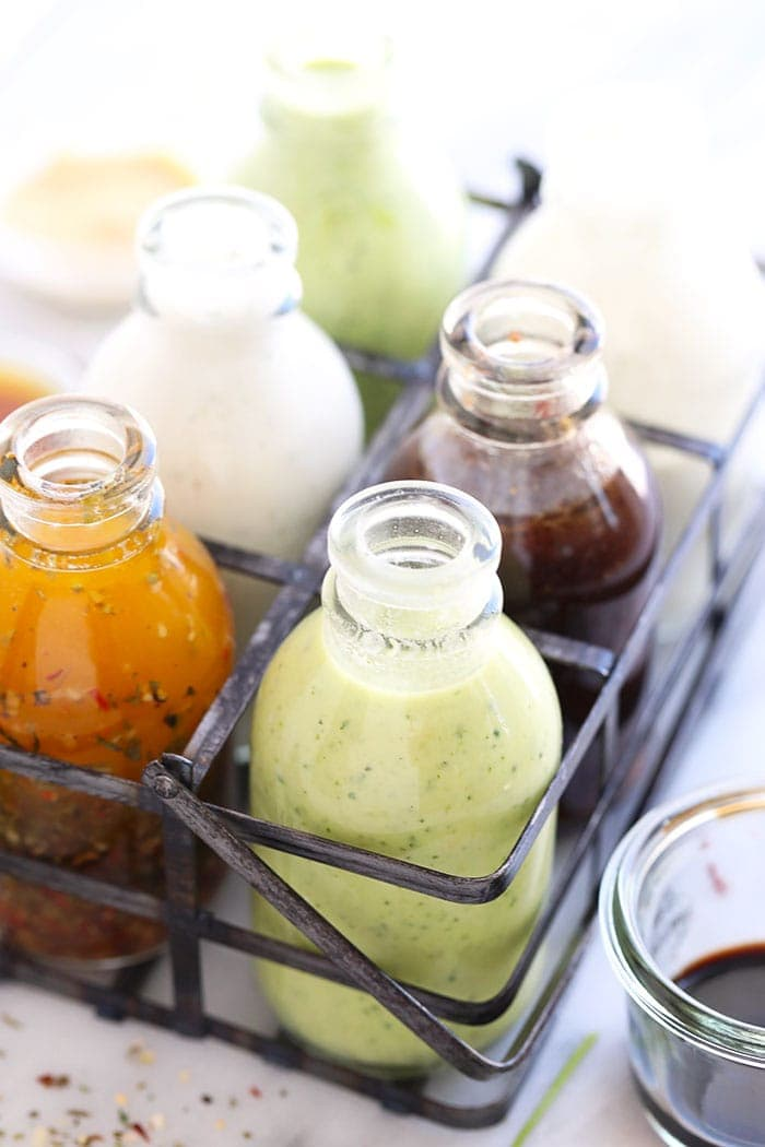 salad dressing recipes in a storage container
