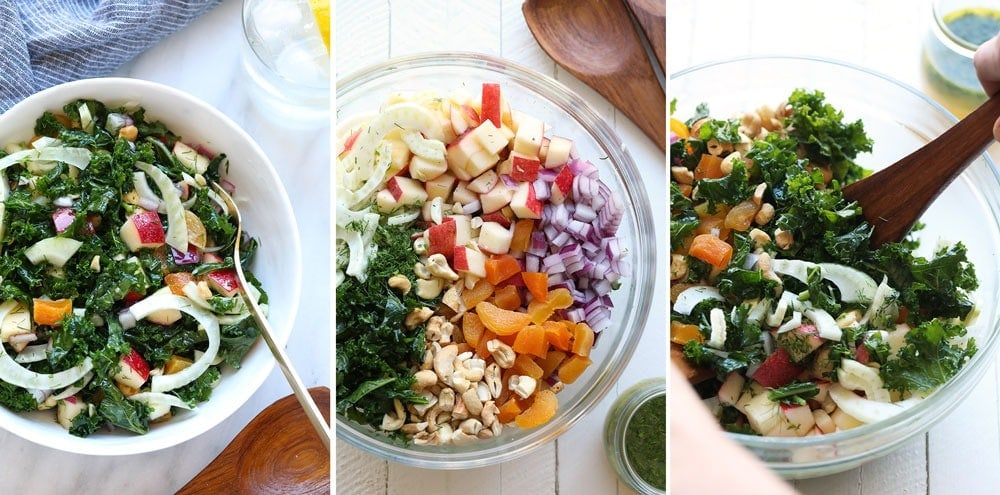 A step by step of a massaged kale and fennel salad