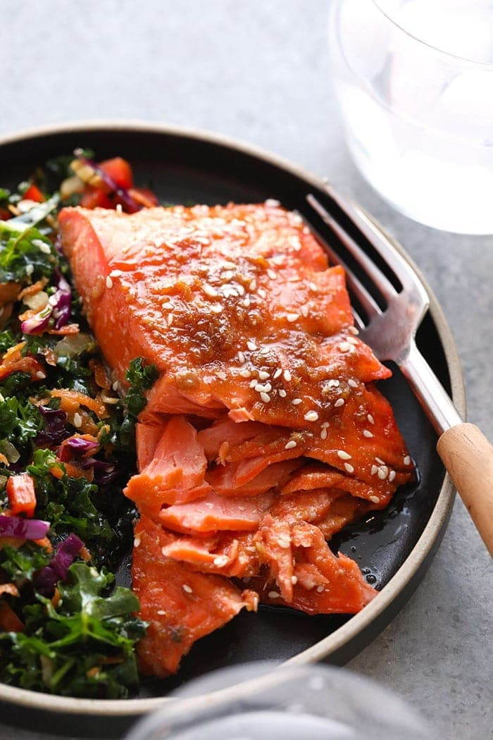 maple ginger baked salmon on a plate