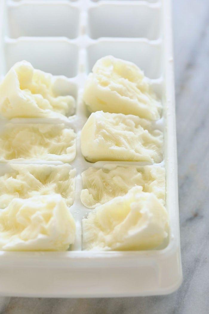 frozen greek yogurt in ice cube trays