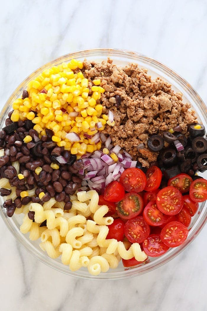 taco pasta salad in glass bowl