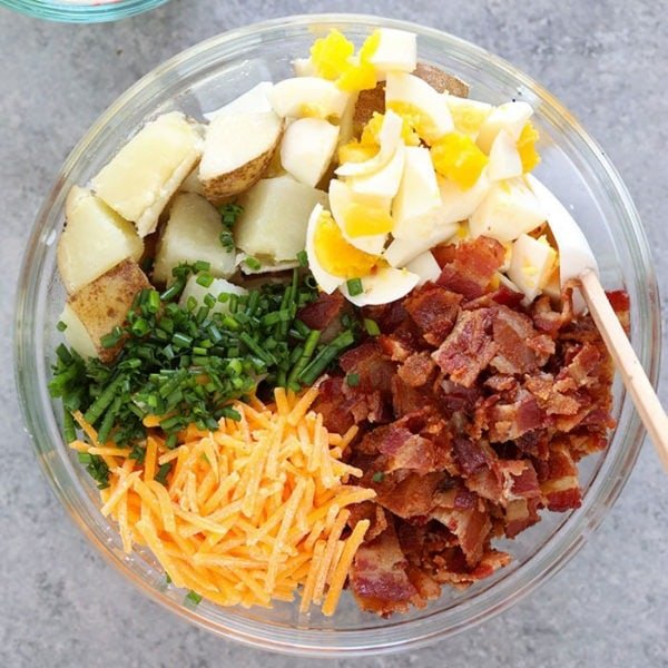 baked potato salad ingredients in bowl