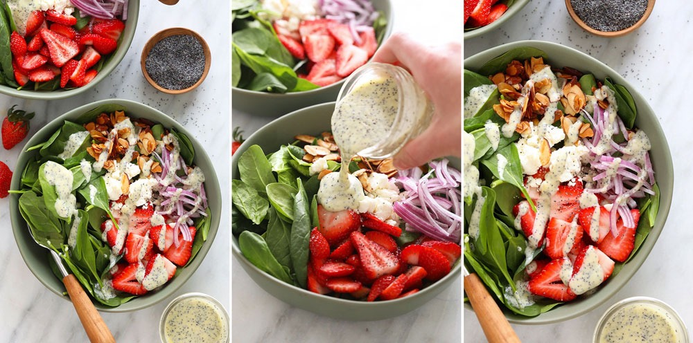 A step by step of how to make a strawberry spinach salad