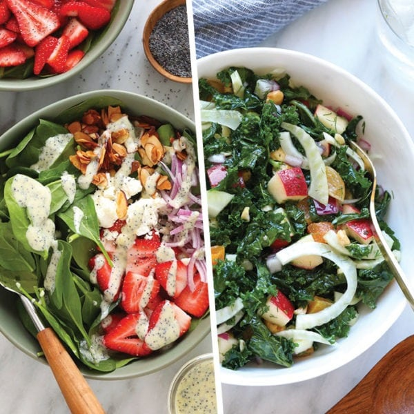 two photos of healthy spring salads