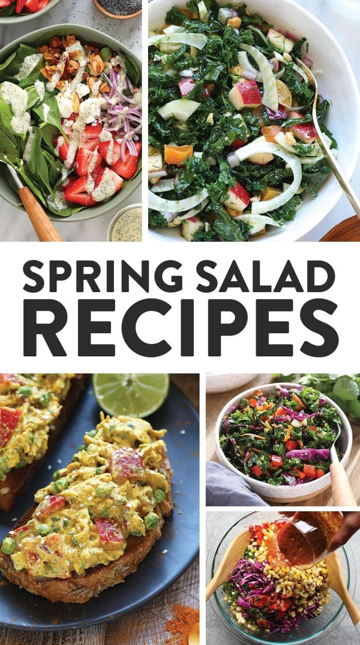A round up image of many different salad recipes