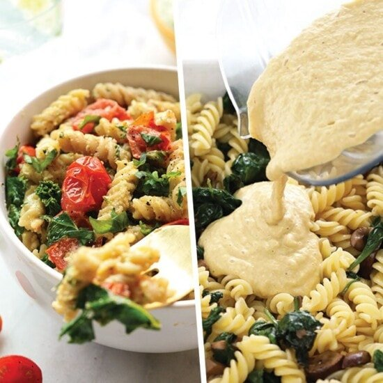 photo collage of vegan pasta