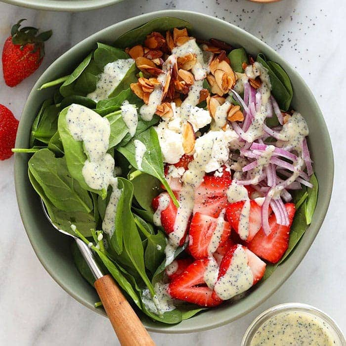 Strawberry Spinach Salad W Poppyseed Dressing Fit Foodie Finds