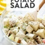 Vegan potato salad in a bowl.