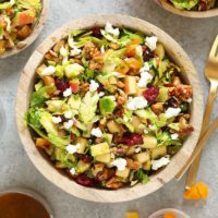 shaved brussels sprout salad ina bowl