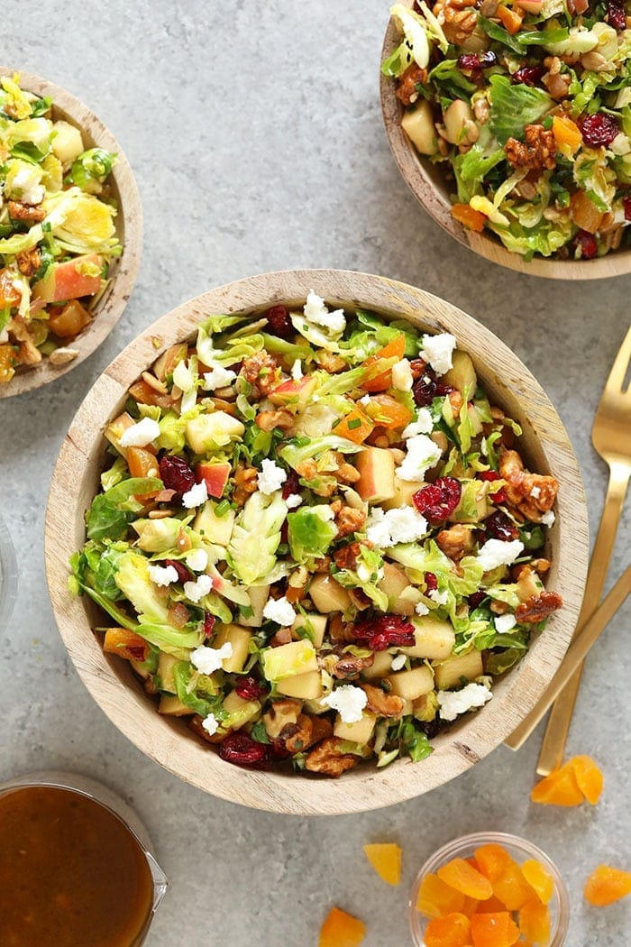 shaved brussels sprout salad in a bowl