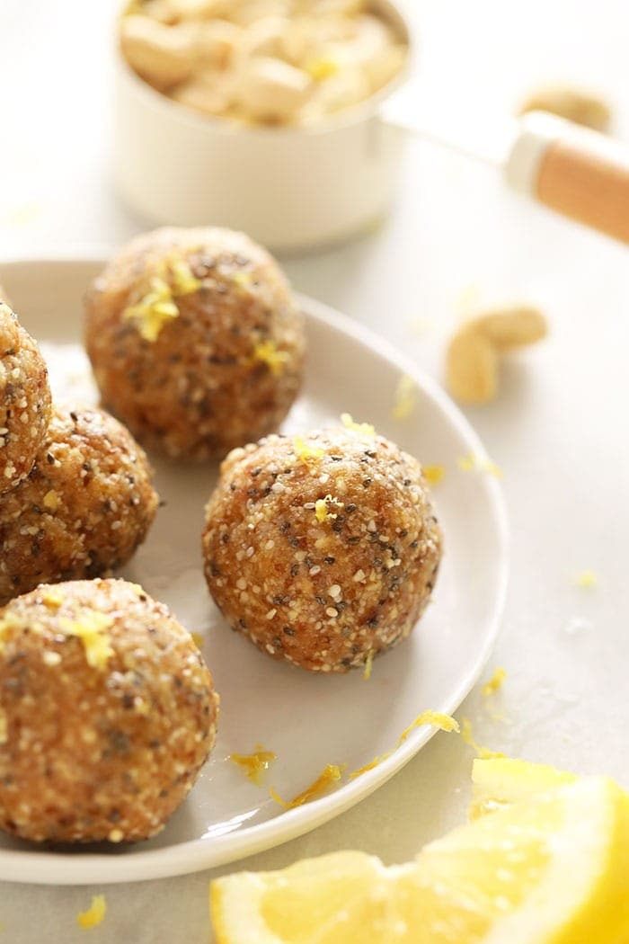 Lemon Cake energy balls on a plate