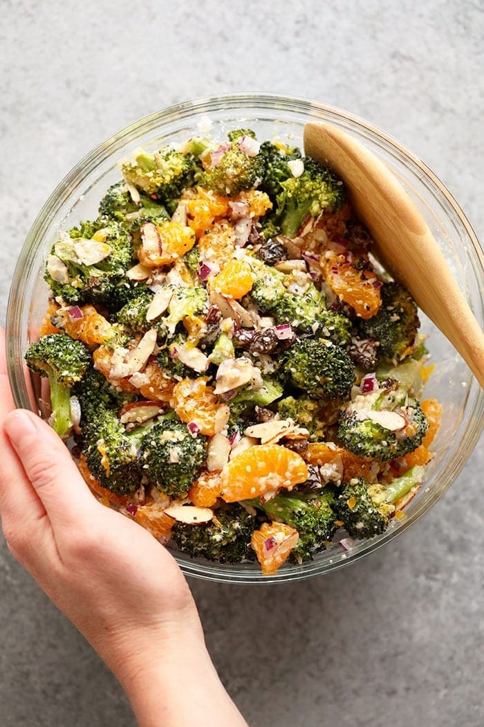 Asian Broccoli Salad in a bowl