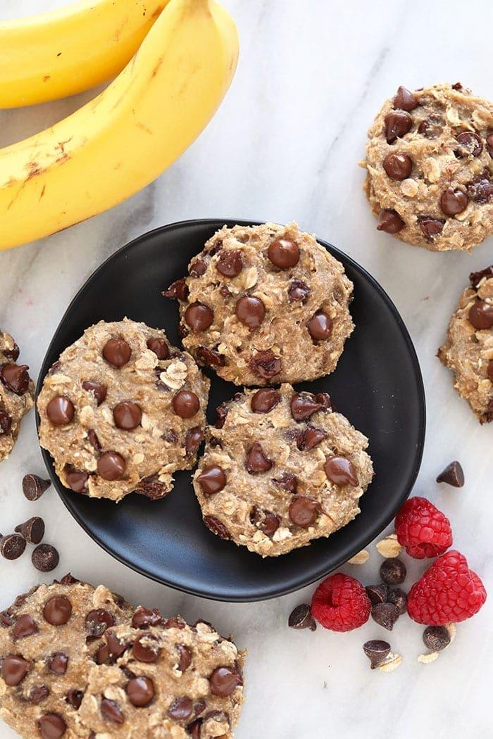 banana oatmeal cookies on plate