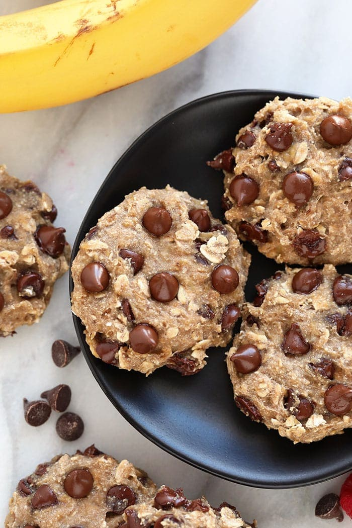 banana oatmeal cookies on plate