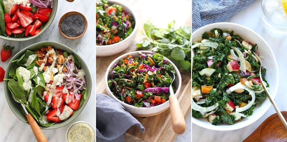 Strawberry spinach salad, healthy asian salad, and massaged kale fennel salad.
