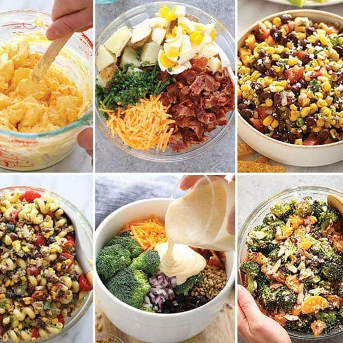 a photo collage of salads