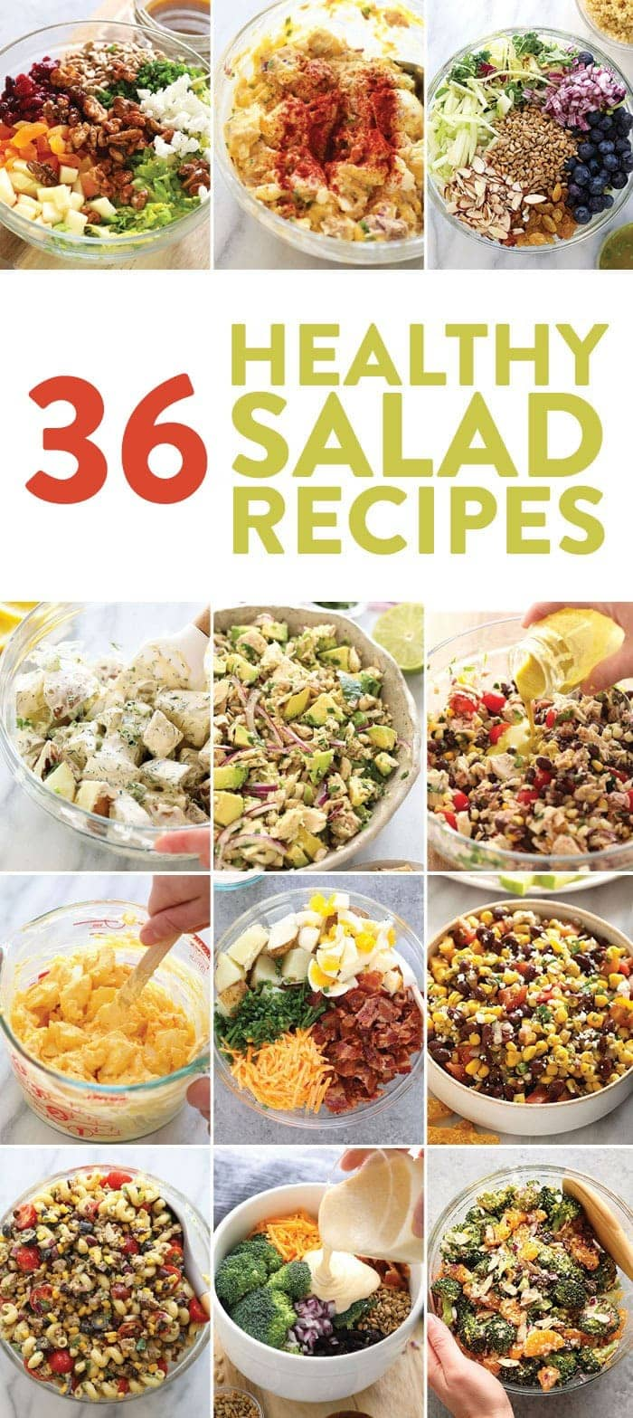 A photo collage of healthy salad recipes