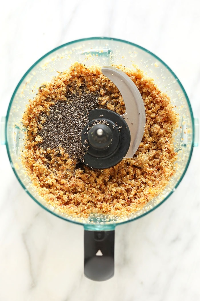 Energy ball ingredients in a food processor