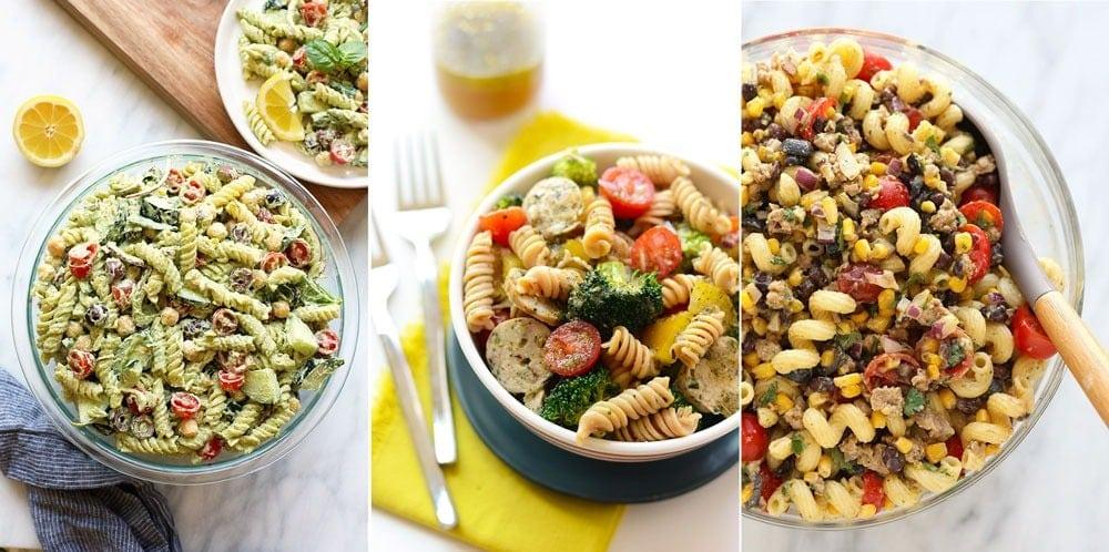 Pesto pasta salad, sausage pasta salad, and taco pasta salad!