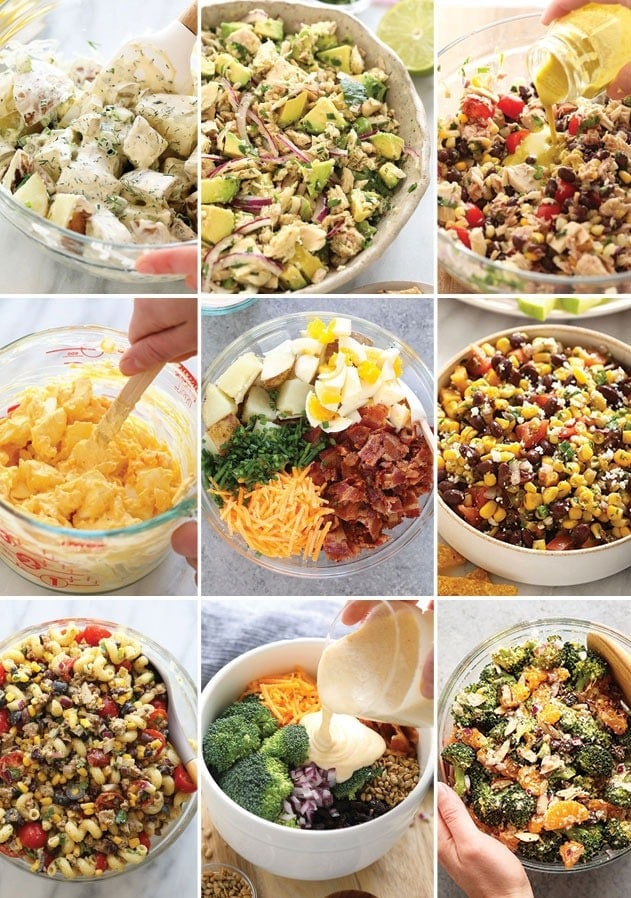 A photo collage of all of our favorite salads.