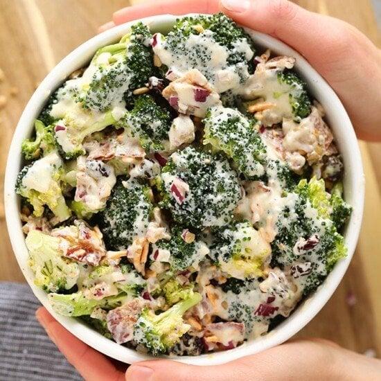 healthy broccoli salad with bacon